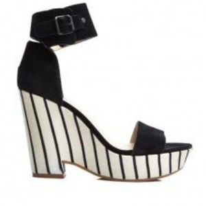 New See by Chloe Striped Wedge Suede Ankle Strap